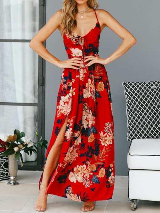 Sleeveless Lace-Up Ankle-Length High Waist Women's Maxi Dress