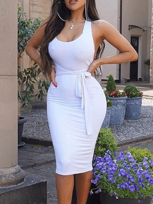 Sleeveless Lace-Up Pullover Women's Bodycon Dress