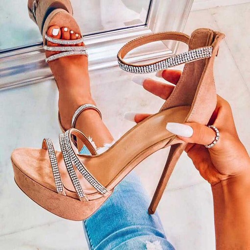 Stiletto Heel Zipper Open Toe Heel Covering Women's Sandals