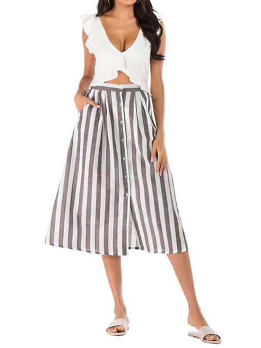 Casual Stripe Skirt Pullover Women's Two Piece Sets