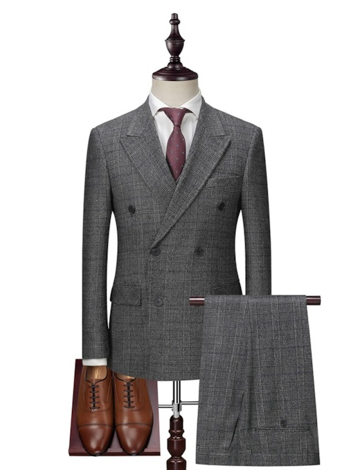 3 Piece Set Zipper Plaid Double-Breasted Fashion Men's Dress Suit