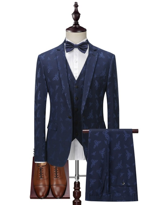 Fashion 3 Piece Suit Block Embroidery Print Pockets Blazer One Button Men's Dress Suit