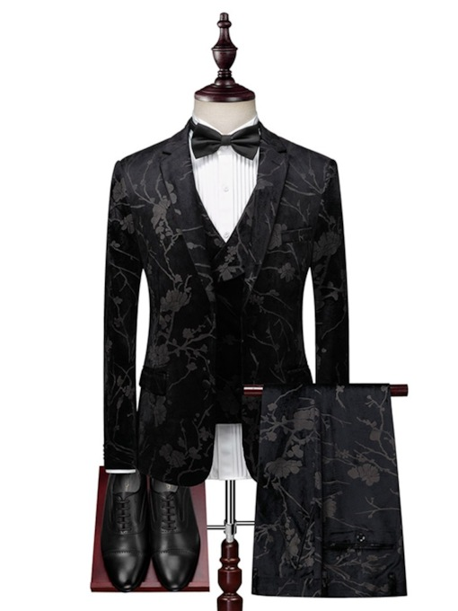 Fashion Print Color Block One Button Men's Dress Suit