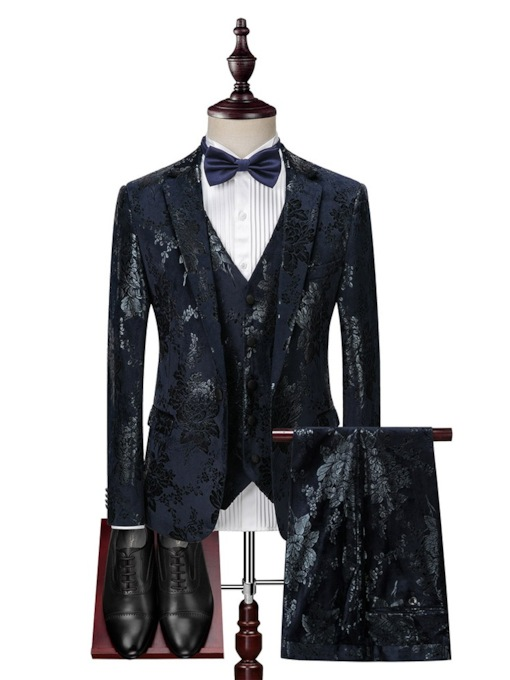 Fashion 3-Piece Suit Color Block Print One Button Blazer Business Wedding Party Men's Dress Suit