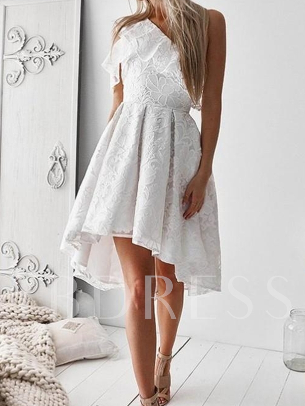 Asymmetry Lace A-Line One Shoulder Homecoming Dress 2019