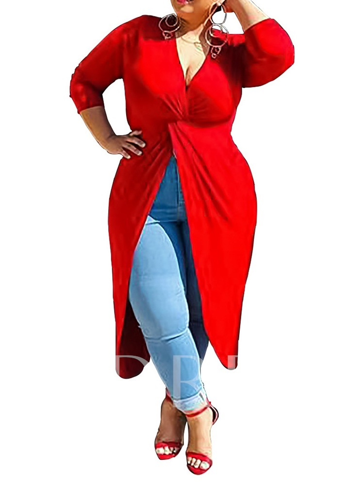 Plus Size Plain Pleated V-Neck Three-Quarter Sleeve Long Women's Blouse