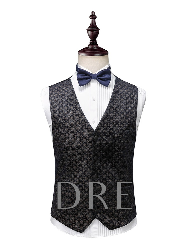 3-Piece Suit Single-Breasted Fashion Pocket Color Block Men's Dress Suit