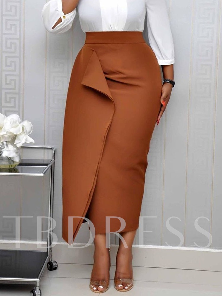 Split Mid-Calf Bodycon Plain High Waist Women's Skirt