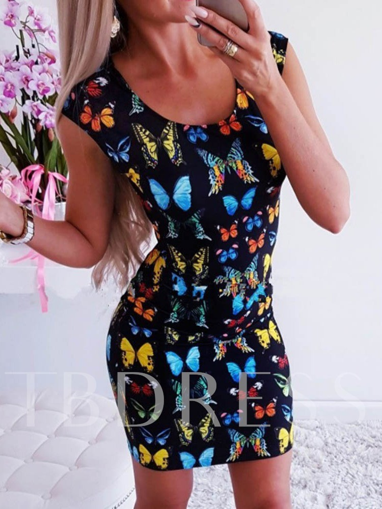 Above Knee Scoop Sleeveless Print Sweet Women's Bodycon Dress