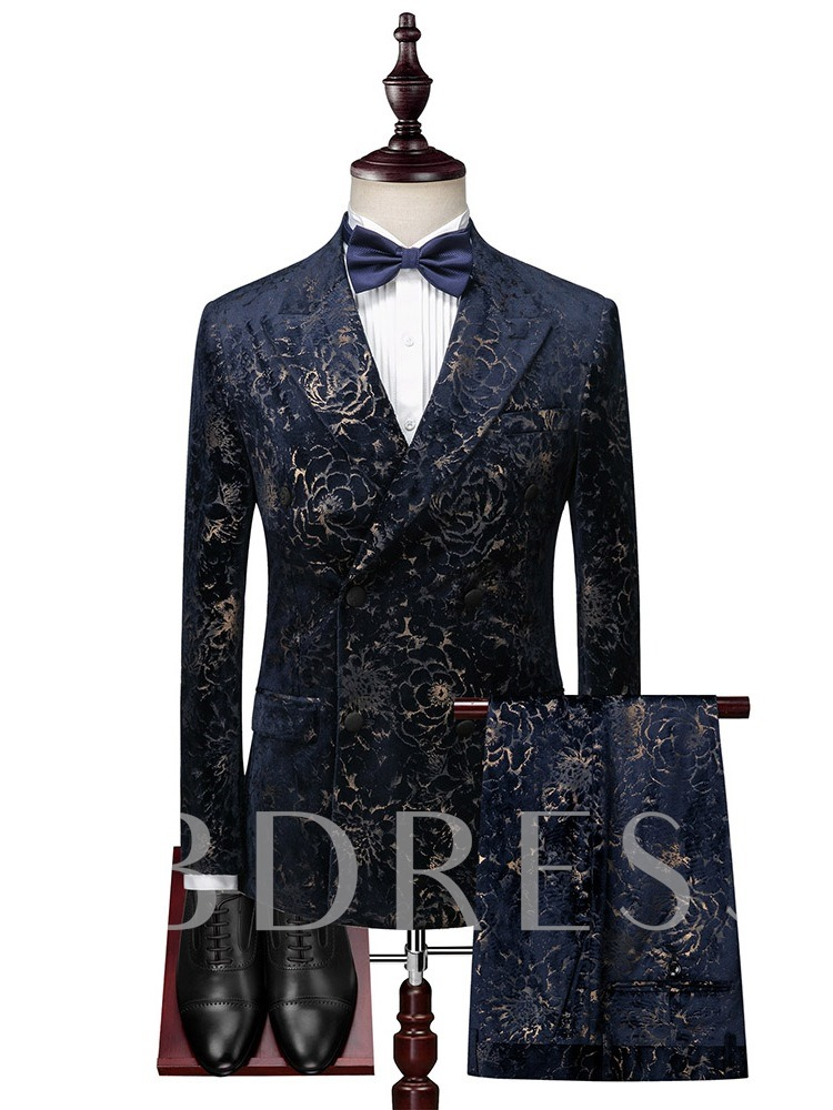 Fashion 3-Piece Suit Pocket Blazer Double-Breasted Men's Dress Suit