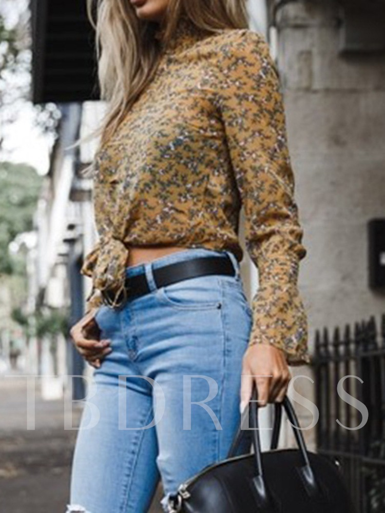 Bowknot Stand Collar Floral Long Sleeve Women's Blouse
