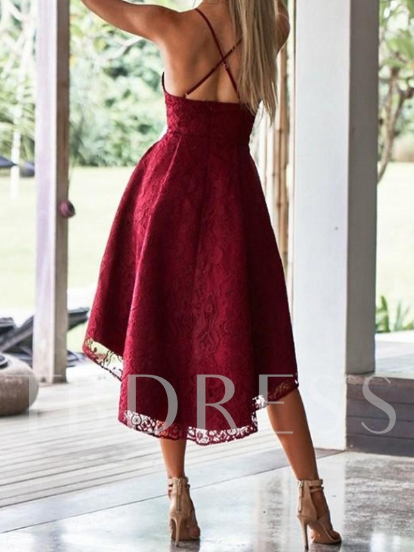 Sleeveless Asymmetry Spaghetti Straps A-Line Homecoming Dress 2019
