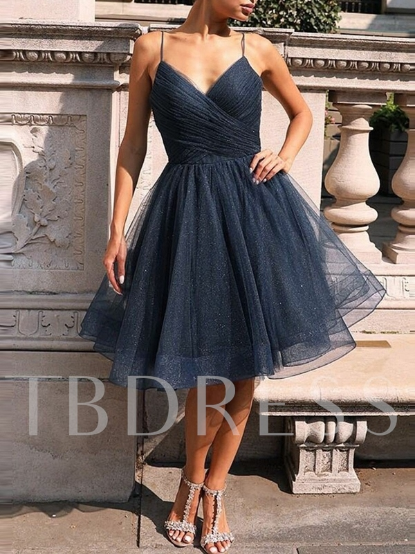 Sleeveless Knee-Length Pleats Spaghetti Straps Homecoming Dress 2019