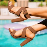 Buckle Strappy Open Toe Chunky Heel Plain Sandals