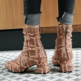 Round Toe Plain Chunky Heel Back Zip Women's Ankle Boots