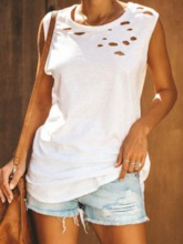 Hole Suspenders Polyester Summer Mid-Length Women's Tank Top