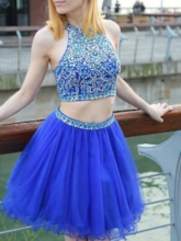 Jewel A-Line Beading Short Homecoming Dress 2019