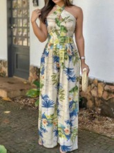Full Length Print Western Floral Loose Women's Jumpsuit
