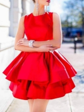 A-Line Ruched Jewel Short Homecoming Dress