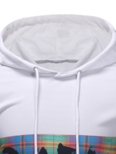 Fashion Print Pullover Color Block Yarn Dyed Thin Hooded Slim Men's Hoodies