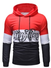 Pullover Thin Print Color Block Casual Long Sleeves Men's Hoodies