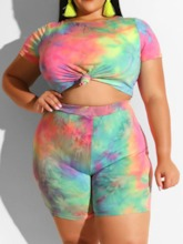 Plus Size Shorts Tie-Dye Casual Pullover Women's Two Piece Sets