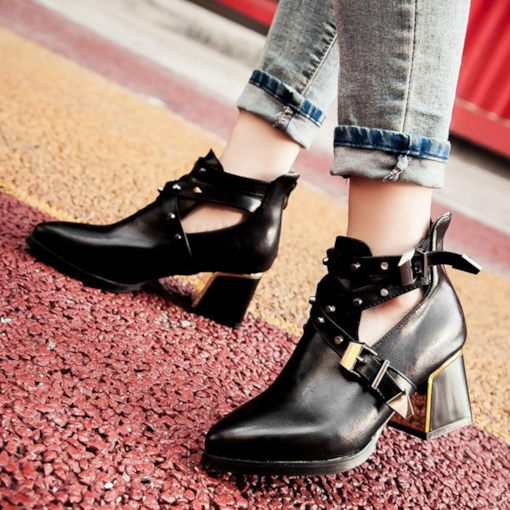 Pointed Toe Back Zip Rivet Chunky Heel Women's Ankle Boots