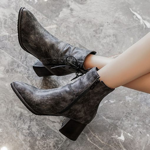 Cross Strap Round Toe Side Zipper Chunky Heel Ankle Boots