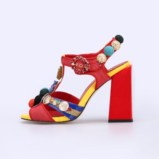 Customized Open Toe Buckle Stiletto Heel Ankle Strap Floral Sandals