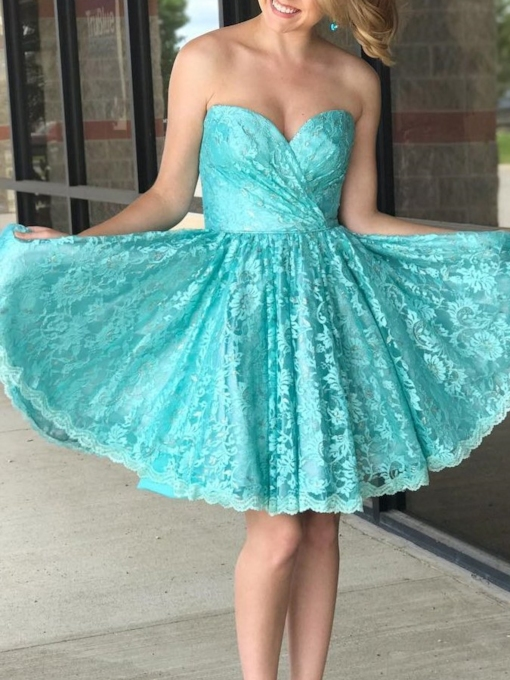 Lace Short A-Line Sweetheart Homecoming Dress 2019