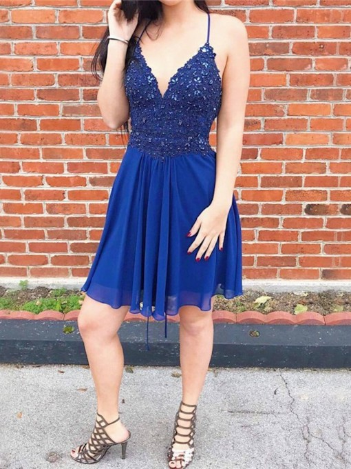 Appliques Short Sleeves Knee-Length Spaghetti Straps Homecoming Dress