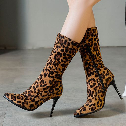 Pointed Toe Stiletto Heel Side Zipper Leopard Women's Mid Calf Boots