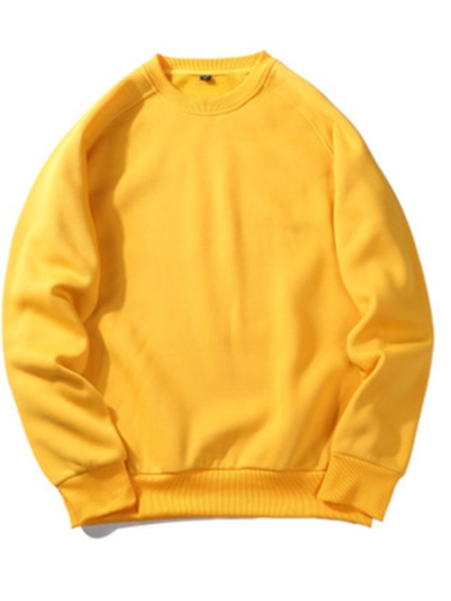 Casual Fashion Thick Plain Pullover Hip Hop Street Wear Sweatshirts Round Neck Men's Hoodies