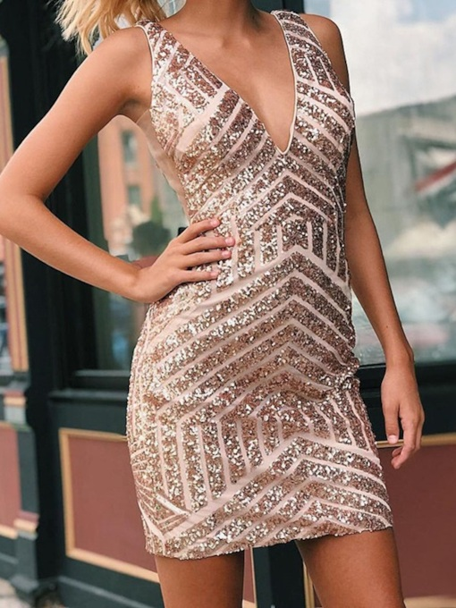 Sleeveless Sheath Short Sequins Homecoming Dress 2019