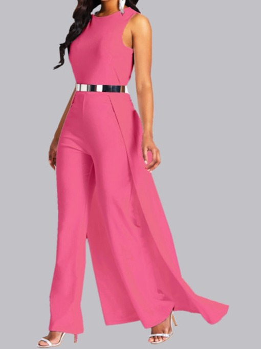 Plain Full Length High-Waist Women's Jumpsuit