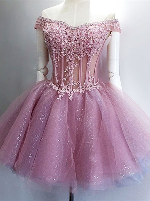 Off-The-Shoulder Ball Gown Beading Mini Homecoming Dress