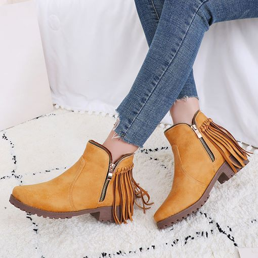 Round Toe Plain Block Heel Side Zipper Women's Ankle Boots