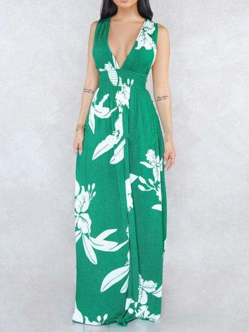 Backless Sleeveless Print V-Neck Floral Women's Maxi Dress