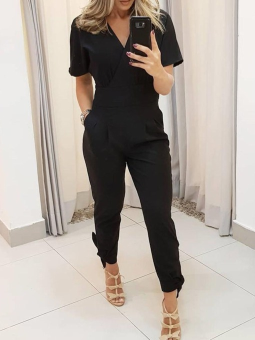 Plain Fashion Pleated Ankle Length Harem Pants Women's Jumpsuit
