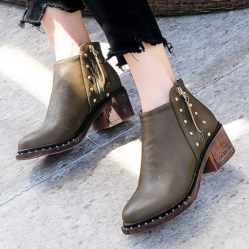 Round Toe Plain Side Zipper Chunky Heel Casual Ankle Boots