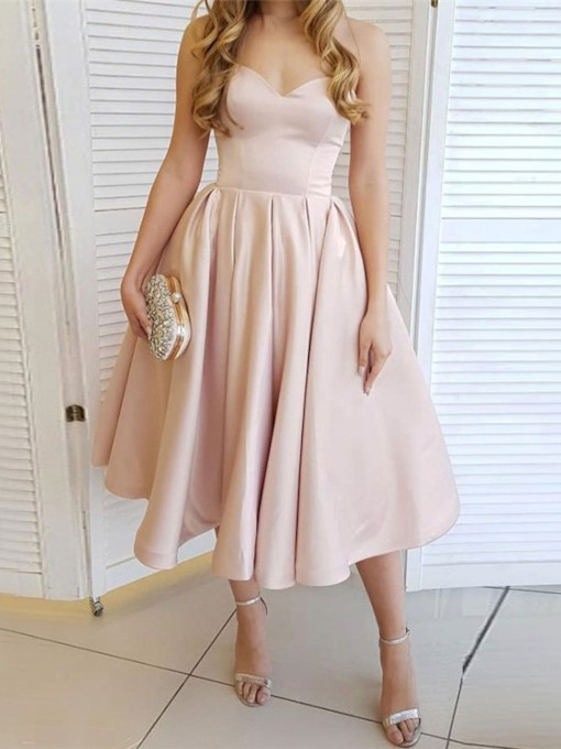 A-Line Sweetheart Tea-Length Sleeveless Homecoming Dress 2019