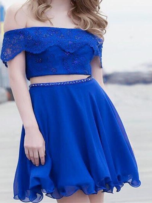 Off-The-Shoulder Short Lace Short Sleeves Homecoming Dress
