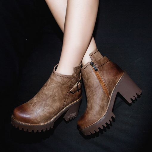 Round Toe Chunky Heel Martin Ankle Boots for Women