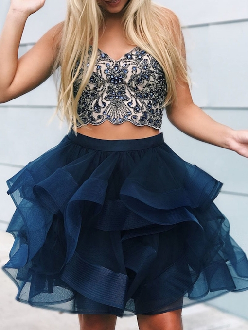 A-Line Knee-Length Sleeveless Sweetheart Homecoming Dress 2019