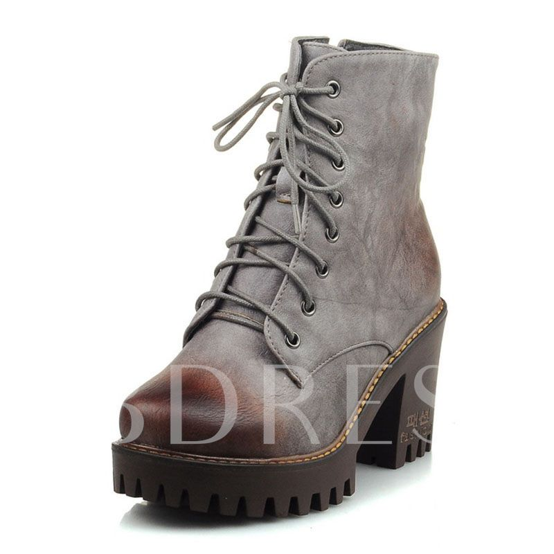 Chunky Heel Round Toe Lace-Up Front Martin Boots