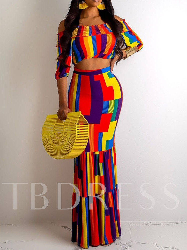Travel Look Print Color Block T-Shirt Bodycon Women's Two Piece Sets