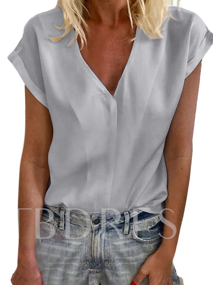 V-Neck Plain Short Sleeve Standard Women's Blouse
