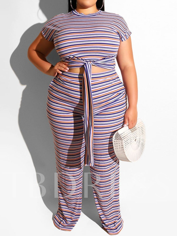 Plus Size Casual Stripe Lace-Up Pants Straight Women's Two Piece Sets