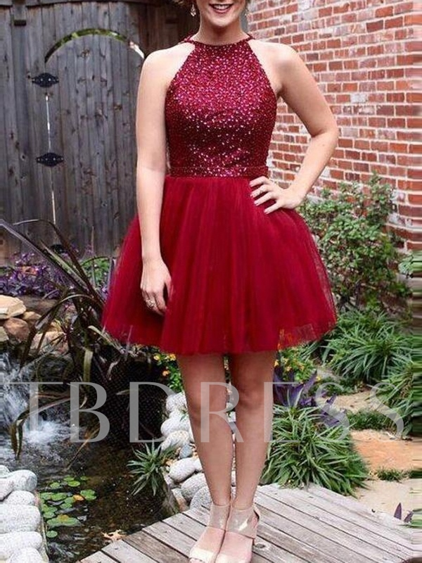 Short Beading A-Line Jewel Homecoming Dress 2019