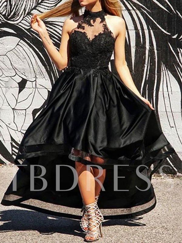 A-Line Sleeveless Asymmetry Appliques Homecoming Dress 2019